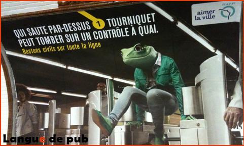 """Affiche RATP Grenouille """"Qui saute par dessus un tourniquet..."""""""