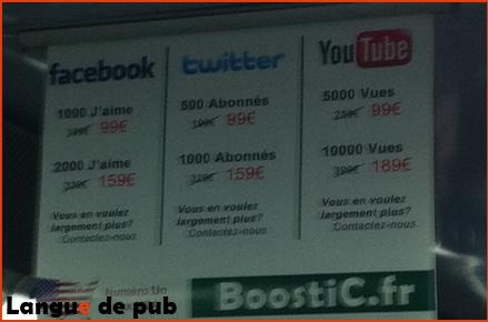Boostic, facebook, twitter, youtube : achetez des j'aime, des abonnés et des vues