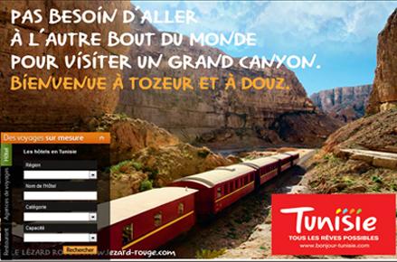 Affiche Tunisie : pas besoin d'aller à l'autre bout du monde pour visiter un grand canyon. Découvrez Tozeur et DOuz