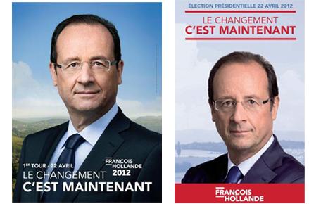 """François Hollande ; affiche """"le changement, c'est maintenant"""""""