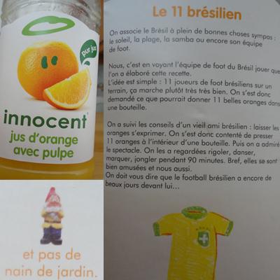 """Etiquette bouteille jus d'orange Innocent """"le 11 brésilien"""""""