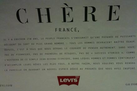 """Affiche Levi's """"Chère France, il y a environ 250 ans..."""""""