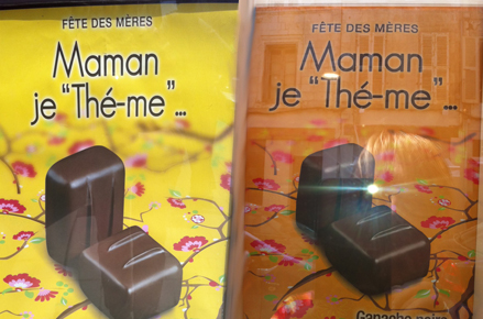 """Affiche chocolats De Neuville : """"Maman, je thé-me"""""""