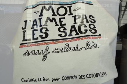 """Sac Comptoir des cotonniers par Charlotte Lebon """"Moi, j'aime pas les sacs"""""""