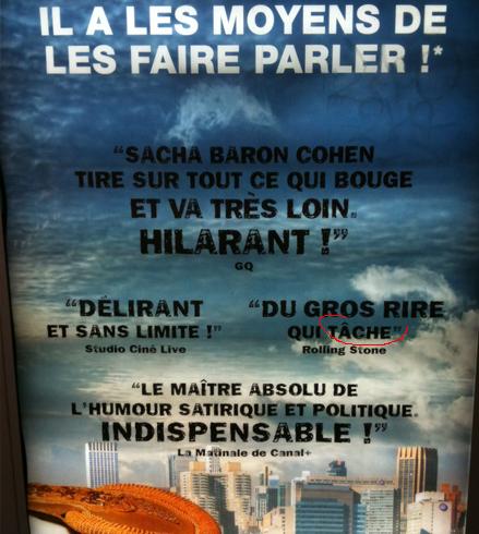Affiche Dictator Sacha Baron Cohen
