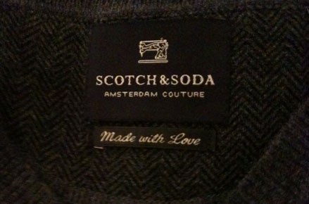 Etiquette pull Scotch&Soda : made with love