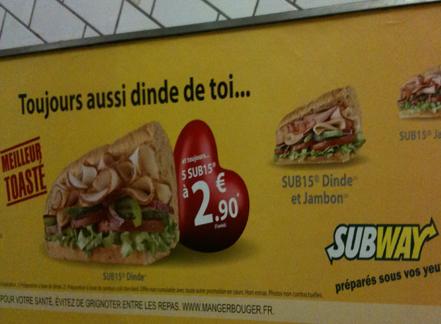 Subway, toujours dinde de toi
